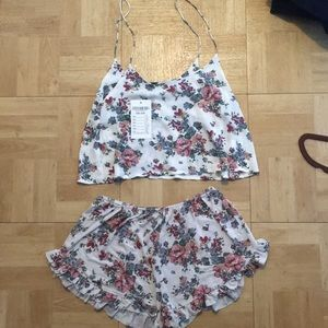 Brandy Melville floral crop top and shorts set